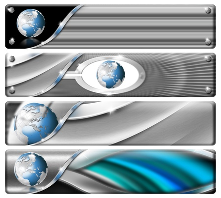 Four horizontal modern headers or banners with earth