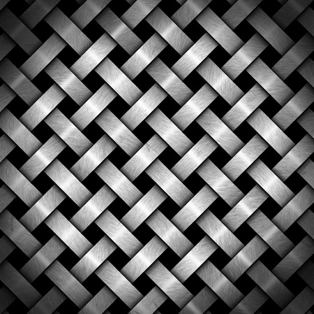 Metal crisscross diagonal template on black background with reflections