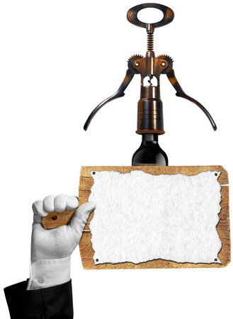 Hand of sommelier with white glove holding a old wooden cutting board with empty sheet of paper and old corkscrew with black wine bottle. Template for wine list or menu