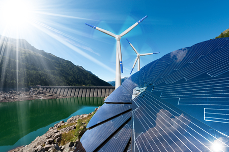 Photo for Renewable Energy - Sunlight with solar panel. Wind with wind turbines. Rain with dam for hydropower - Royalty Free Image