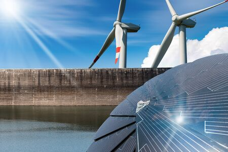 Photo pour Renewable Energy - Sunlight with solar panel. Wind with wind turbines. Rain with dam for hydropower - image libre de droit