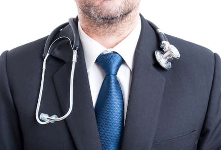 Male doctor with suit and stethoscope. Chest or torso pf hospital manager.