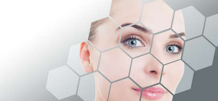 Photo pour Close-up of woman perfect face with beauty correction and makeup against gray background gradient - image libre de droit