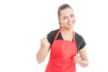 Successful hypermarket employee celebrate victory and smiling isolated on white background with copy space area