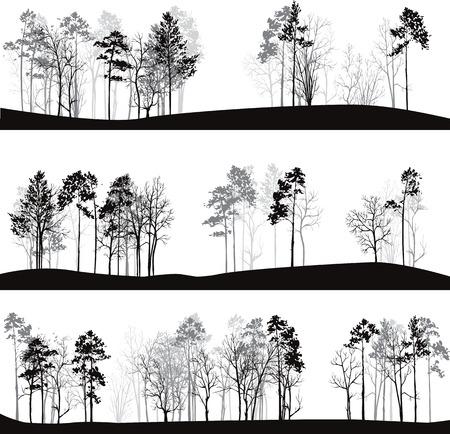 Illustration pour set of different landscapes with pine trees, hand drawn vector illustration - image libre de droit