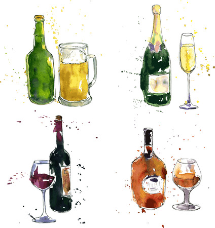 Illustration pour cognac bottle and cup, wine bottle and glass, champagne bottle and glass, beer bottle and cup, drawing by watercolor and ink, hand drawn vector illustration - image libre de droit