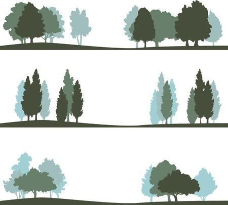 Illustration pour set of different silhouettes of landscape with trees, vector illustration - image libre de droit
