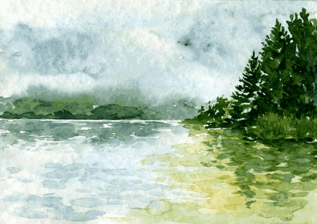 Illustration pour abstract vector watercolor landscape with river and spruce forest, rain clouds and reflection in water,  hand drawn vector illustration, watercolor background - image libre de droit