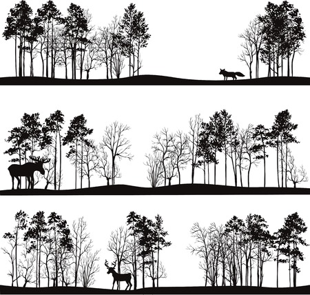 set of different landscapes with pine trees and wild animals, forest silhouettes with deer, elk, fox, hand drawn vector illustrationのイラスト素材