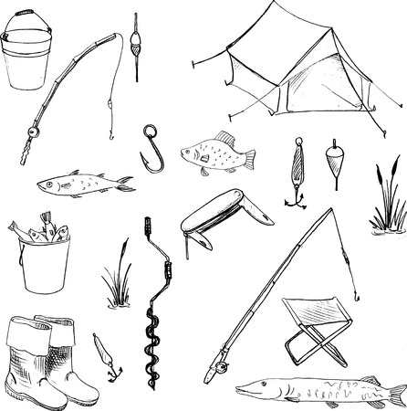 Doodles accessories for fishing, vector set of hand drawn elements,