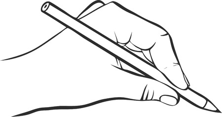 writing hand with pencil, drawing left hand, hand drawn vector icon
