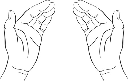 Illustration pour two hands with open palms, hand drawn vector illustration,guardian, safety sign - image libre de droit