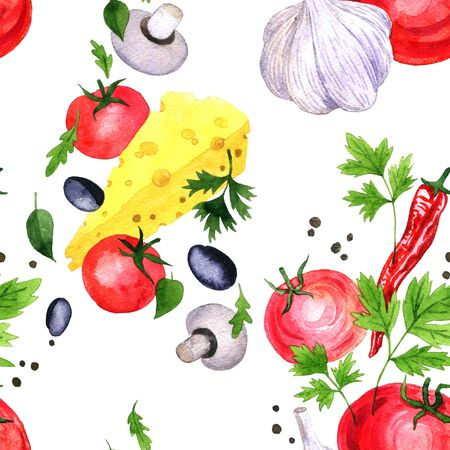 seamless pattern with watercolor drawing vegetables and cheese, chili pepper,parsley leaves,black peper, red tomato, mushrooms and garlic, hand drawn illustration