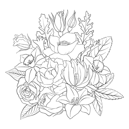Illustration pour line drawing vector floral composition with flowers, buds and leaves, coloring page for adult, hand drawn illustration - image libre de droit
