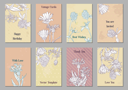 Photo pour vintage vector floral cards with flowers, hand drawn templates for invitation, flyer or gift crad - image libre de droit