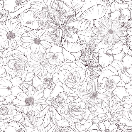 Illustration pour vector seamless pattern with drawing flowers - image libre de droit
