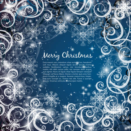 Illustration pour Elegant christmas blue background with snowflakes and lights - image libre de droit