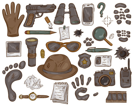 vector hand drawn set of illustration with  detective tools and evidence.