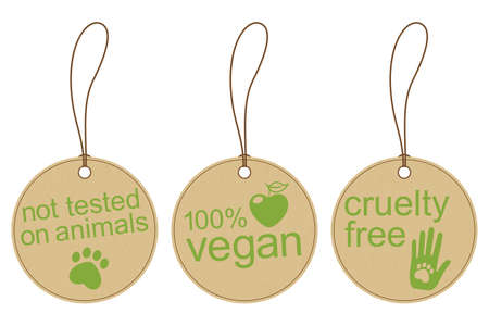 Illustration for Set of carton tags for vegan, cruelty free and ethical products - Royalty Free Image