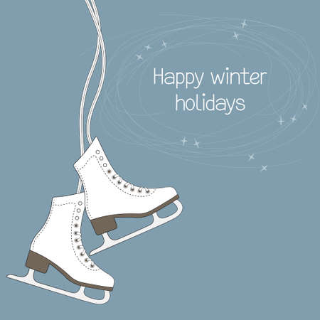 Winter holidays card with ice skates and blade trails