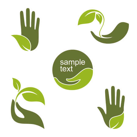 Set of emblems and labels with human hands and green leaves for ecology gardening natural beauty and health design
