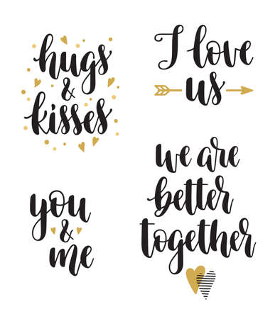 Illustration pour Set of hand calligraphy phrases for Valentines day and romantic design. I love us, Hugs and kisses, You & me, We are better together - image libre de droit