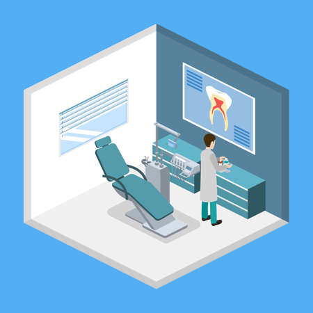 Isometric 3D vector illustration of dentist in the dental office. Dentist chair. Dental tools for dental treatment of patients. Medical equipment.