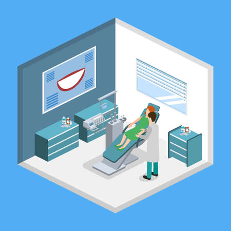 Isometric 3D vector illustration of the dentist in the dental office treats the patient. Dentist chair. Dental tools for dental treatment of patients. Medical equipment.