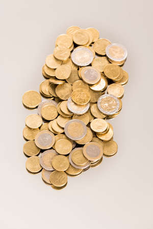 Euro coins saving on white background France