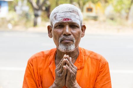 TIRUVANNAMALI, TAMIL NADU, INDIA - MARCH Circa, 2018 . Portrait Sadhu at Ashram Ramana Maharshi. Sadhu is a holy man, who have chosen to live an ascetic life and focus on the spiritual practice of Hinduism. Sage, Moksha, Maya, caste, Shiva, Vishnou, gymno