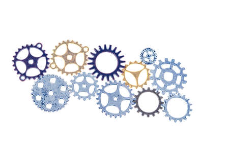 Photo pour A large group of rusty transmission gears linked together on a white background. Transmission teamwork concept - image libre de droit