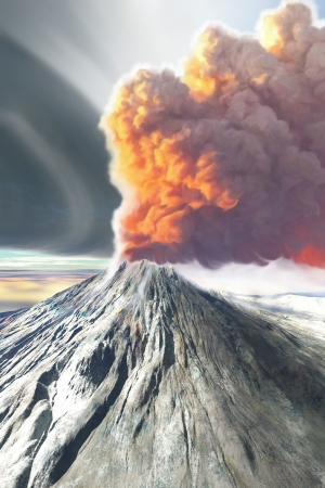 A volcano spews smoke and ash in this digital painting.