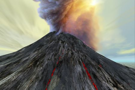 An active volcano belches smoke and ash into the sky.