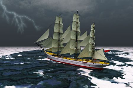 STORMY WEATHER - A tall ship glides through rough seas during a thunderstorm.