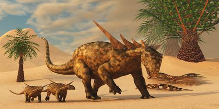Sauropelta Dinosaur in Desert - A Sauropelta mother leads her offspring in a desert area of