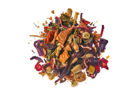 Photo pour Tea made from wild raspberries and mint with calendula petals, lemon balm, camomile flowers, leaves, currants, apples and hibiscus - image libre de droit