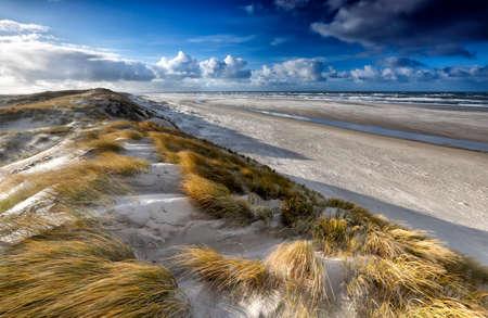 Photo pour view from sand dune on north sea coast, Texel, Netherlands - image libre de droit