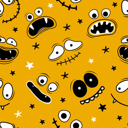Illustration for Seamless pattern Happy Halloween. Scary and funny smiling faces of Halloween with jaws, teeth and open mouths. Hand drawn vector funny cartoon character Ghost, monster, Jack Skellington, pumpkin - Royalty Free Image