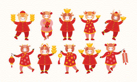 Illustration pour Set of cartoon kids bulls in red traditional Chinese clothes and with new years symbols of good luck. Chinese new year ox. Festive firecracker, paper flashlight, gold ingot, coins, envelope with money - image libre de droit