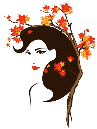 autumn portrait vector - beautiful girl among bright leaves