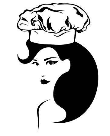 beautiful female chef vector emblem