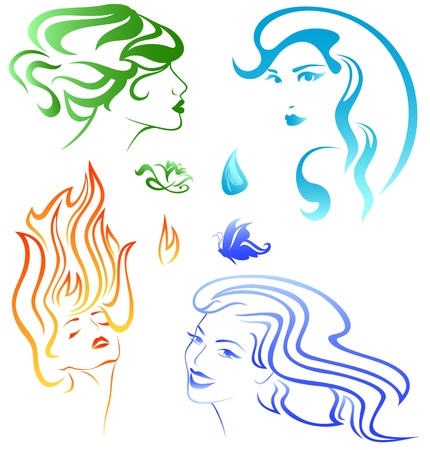 Ilustración de four elements concept - portraits representing fire, air, water and earth - Imagen libre de derechos