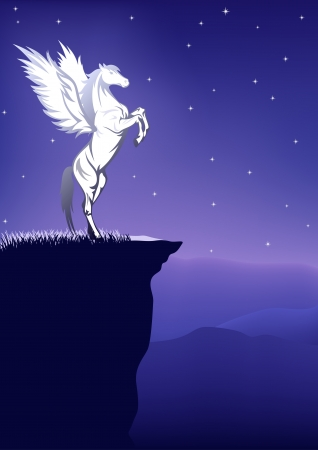 fairytale background - pegasus on the top of a mountain on a starry night
