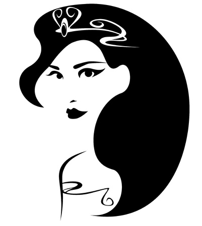 beautiful princess illustration - black and white outline of a female face with long hair and crown