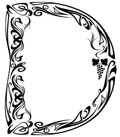 Art Nouveau style vintage font - letter D - black and white floral design elements