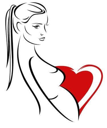 beautiful pregnant woman - maternity vector emblem