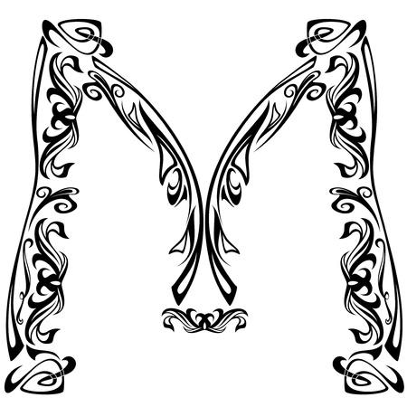 Art Nouveau style font - letter M - black and white fine vector outline