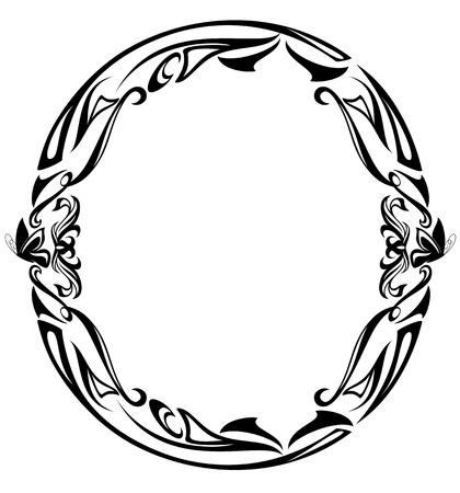 Vektor für Art Nouveau style vintage font - letter O black and white outline  - Lizenzfreies Bild