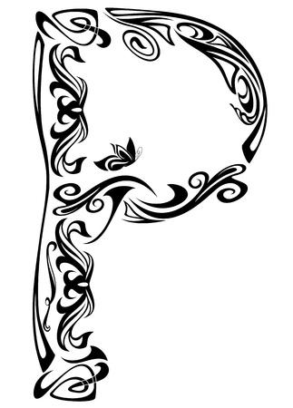 Vektor für Art Nouveau style vintage font - letter P black and white outline  - Lizenzfreies Bild