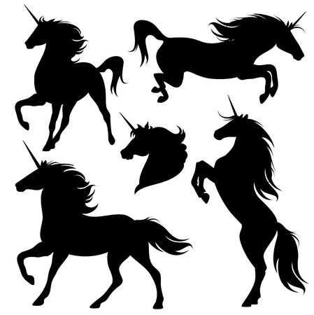 Illustration for set of fine unicorn silhouettes - running, rearing and jumping magic horses - Royalty Free Image